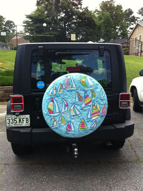 Jeep Spare Wheel Covers Lilly Pulitzer Custom Painted Jeep Spare Tire Cover Photo