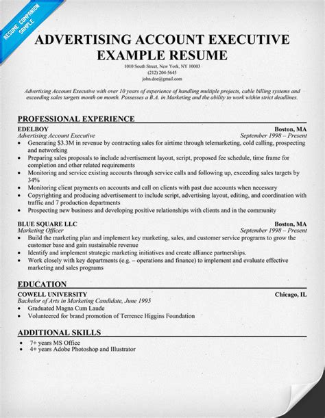 Advertising Resume Exles by Account Executive Resume Exles