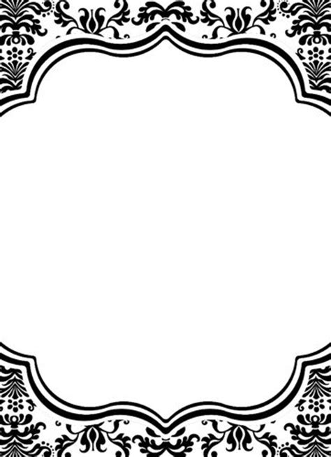 black and white border cards template 6 best images of printable damask borders for invitations