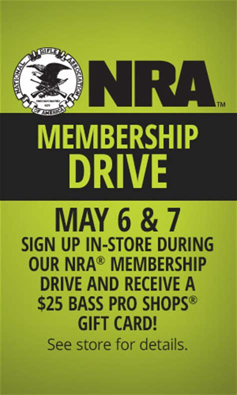 Nra Bass Pro Gift Card - 25 bass pro gift card for joining or renewing nra membership calguns net