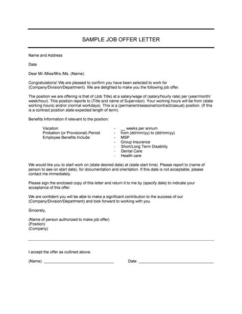 Offer Letters In Canada Sle Of Offer Letter For Canada Docoments Ojazlink