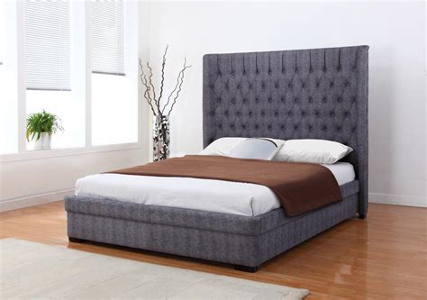 dark grey fabric king size bed homegeneis