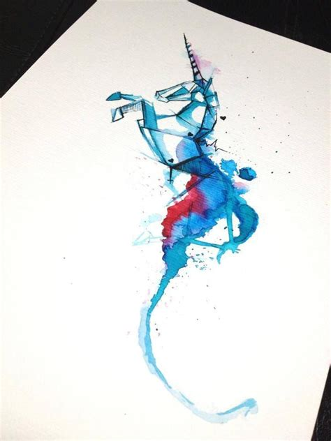 watercolor tattoo unicorn cool blue watercolor jumping unicorn in geometric style