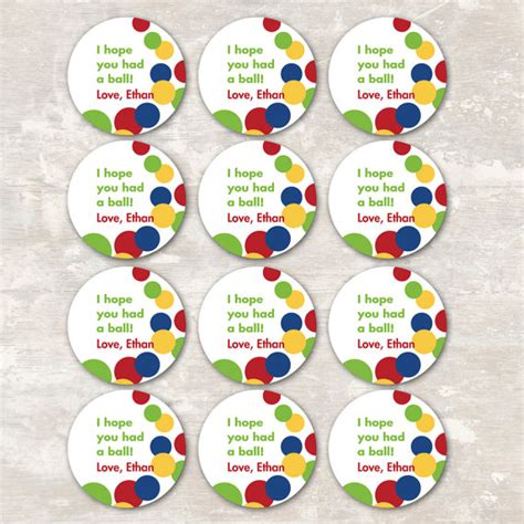 print ship bouncy ball birthday party goodie bag gift tags