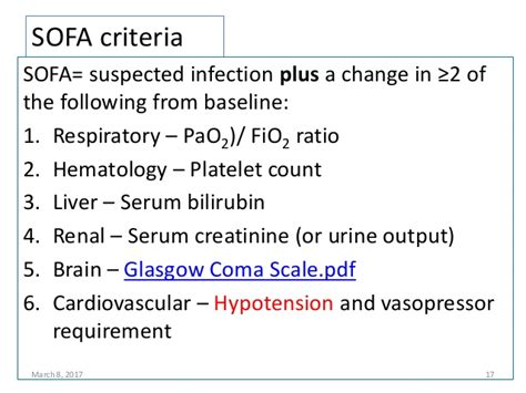 sofa criteria managemet of sepsis and septic shock