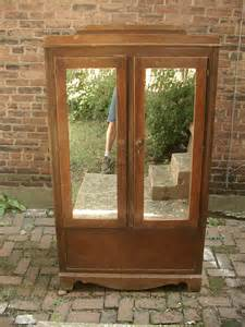 vintage armoire wardrobe cabinet mirrored doors by