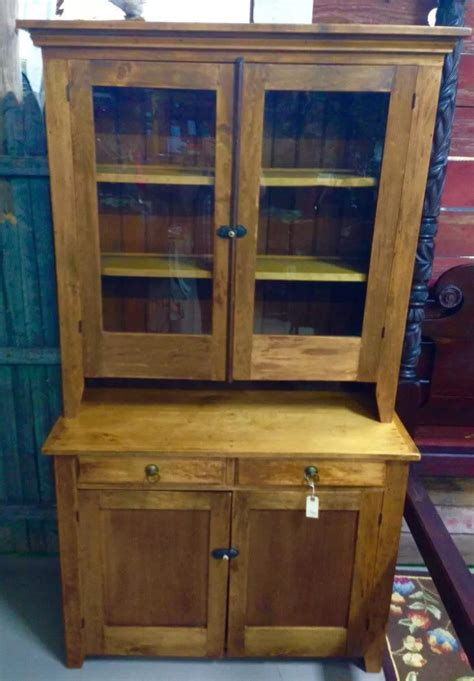 kitchen cabinet 1800s antique maple step back 2 piece 44w78h20d top is 45h12d