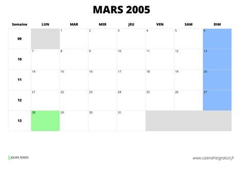Calendrier De 2005 Calendrier De Mars 2005 224 Imprimer