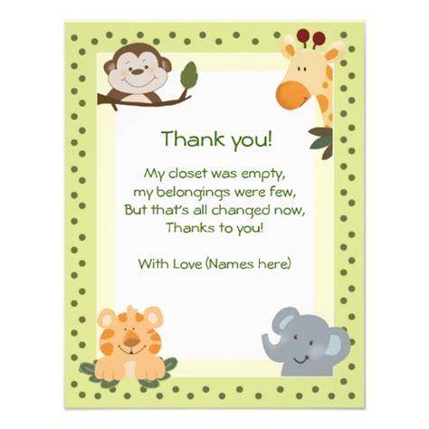 notes for baby shower card jungle safari animals baby shower thank you notes