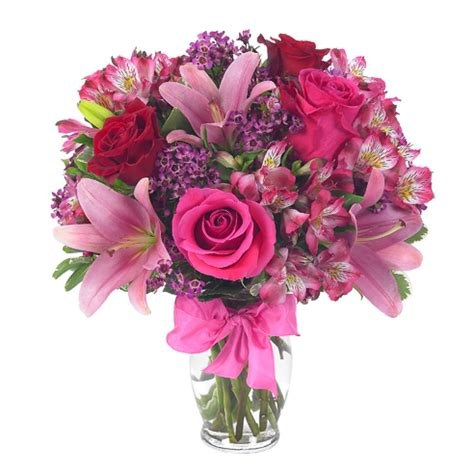 roses and lilies pink and bouquet delight at send flowers