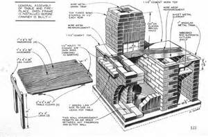 plans for a pit brick bbq pit with wood storage rack 1954 diy