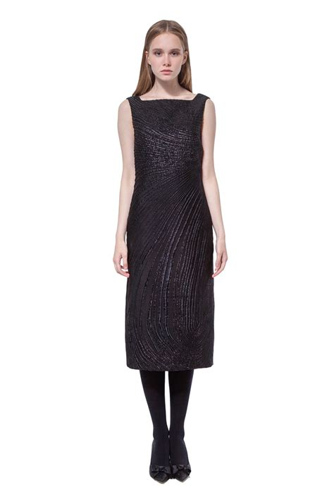 Sleeveless Jacquard Dress black sleeveless jacquard knee length dress diana arno