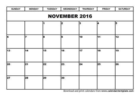 printable calendar november 2016 image gallery november 2016 calendar printable