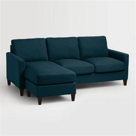 world market abbott sofa azure blue textured woven abbott sofa world market