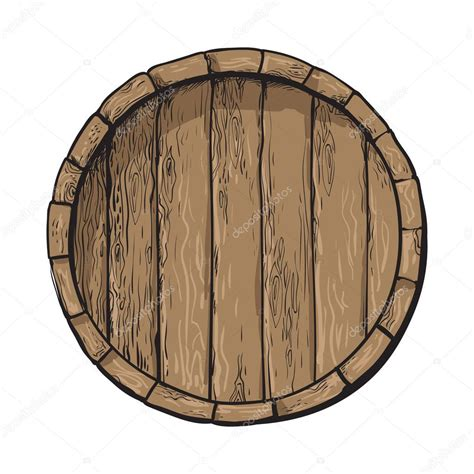 Barrel Top top view of sketch style wooden barrel with tap stock