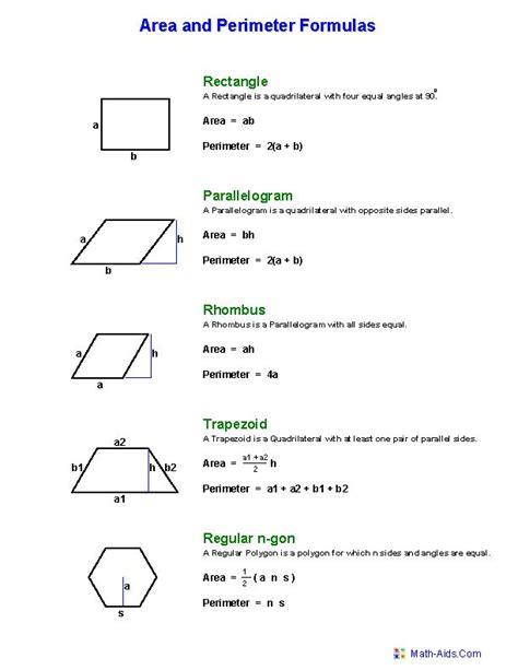 printable area formulas hexagon area worksheets geometry worksheets area and