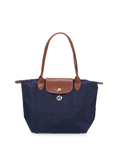 longchamp le pliage monogrammed small shoulder tote bag