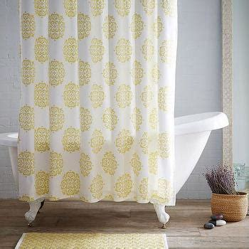 horizon stripe yellow  white shower curtain