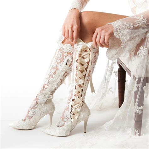 Schuhe Ivory Spitze by Classic Ivory Lace Wedding Boots And Shoes House Of Elliot