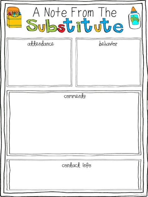 Substitute Teacher Feedback Form Primary Junction To Be Mobiles And In The Classroom Substitute Folder Template