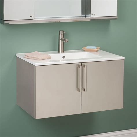 Stainless Steel Bathroom Vanity Cabinet by 30 Quot Crosstown Stainless Steel Wall Hung Vanity Brushed