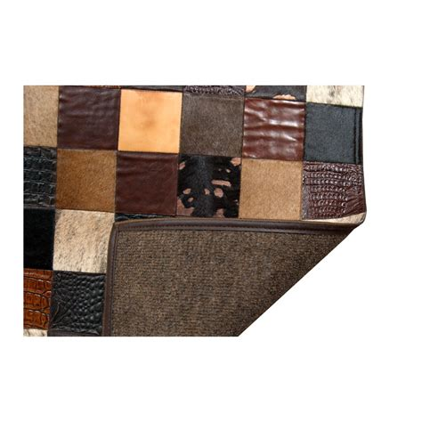 Patchwork Cowhide - patchwork cowhide mosaik black brown white leather carpet