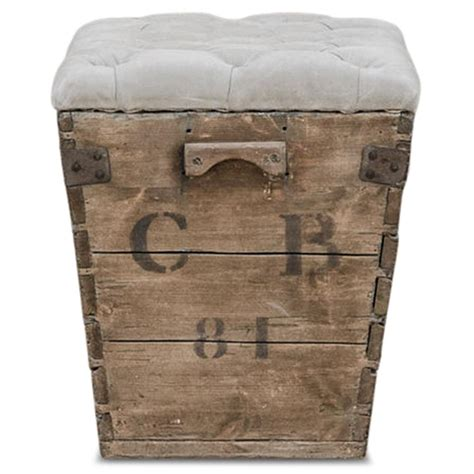 wooden ottoman storage reims french country aged wood grey storage crate ottoman