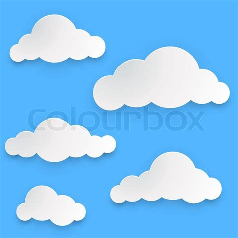 How To Make 3d Clouds Out Of Paper - paper clouds vector template isolated on blue background