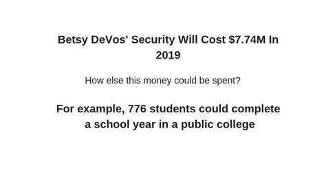 betsy devos security betsy devos security will cost 7 74m in 2019 infographic