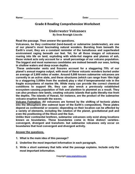 8th Grade Reading Worksheets by Eighth Grade Reading Worksheets Englishlinx Board