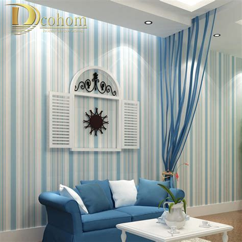 horizontal striped bedroom walls modern fashion horizontal white blue striped wallpaper