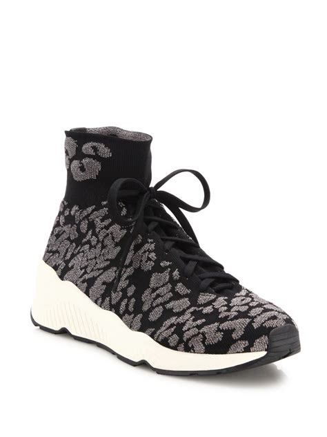 leopard print wedge sneakers ash maniac knit leopard print wedge sneakers in gray lyst