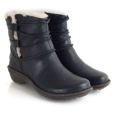 black leather ugg boots ugg black leather caspia s ankle boot