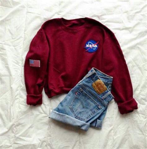 Hoodie Sweater Nasa Premium shirt sweater nasa hoodie pretty burgundy air max burgundy sweater sweatshirt