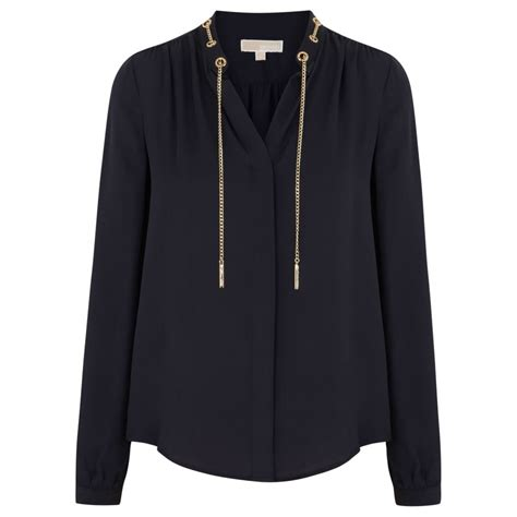 Michael Kors Navy Silk Blouse by Michael Michael Kors Chain Embellished Silk Blouse In Blue