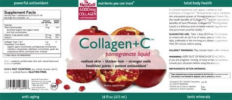 Neocell Collagen C Pomegranate Liquid 16 Fl Oz 473 Ml thuốc uống trắng da neocell collagen c pomegranate liquid