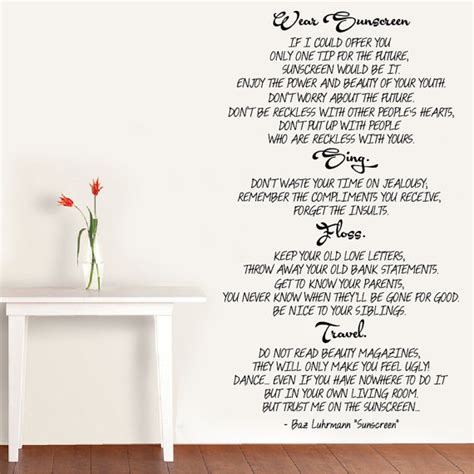 do you room lyrics wall vinyl decal wear sunscreen song lyrics by baz