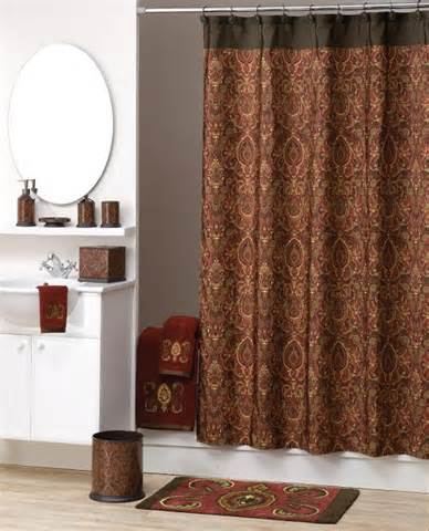 fabric shower curtain maroon brown