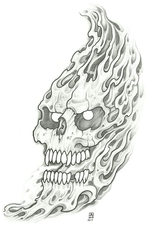 evil tattoo flash evil design flaming skull evil design