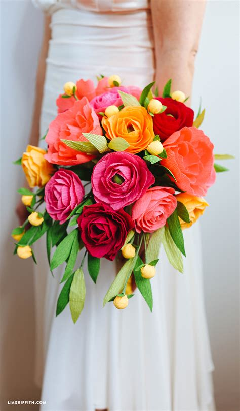 Wedding Wedding Flowers by Crepe Paper Neon Wedding Bouquet Lia Griffith