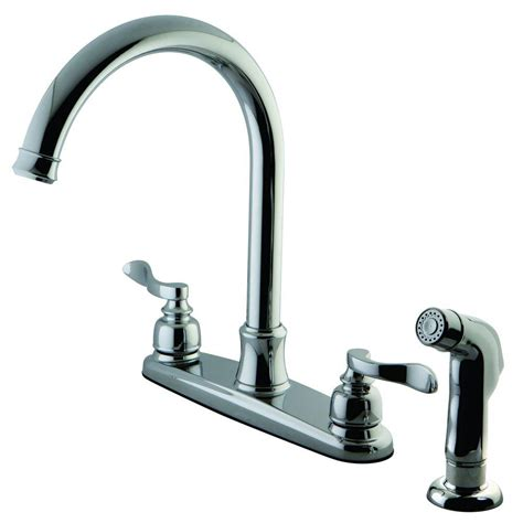 designer faucets kitchen kingston brass designer 2 handle standard kitchen faucet with side sprayer in polished chrome