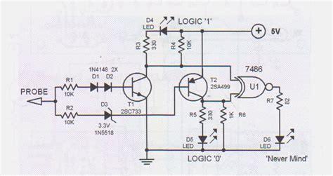 probe circuit diagram logic probe tester circuit