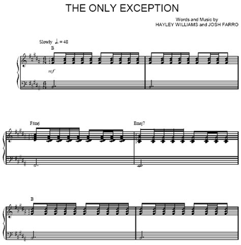 The Only Exception Paramore Chords