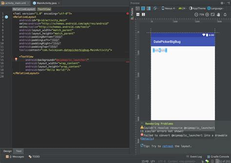 android studio dynamic layout android studio 2 2 layout editor refresh button android