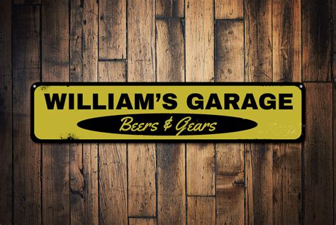 garage beers gears sign personalized mechanic name sign