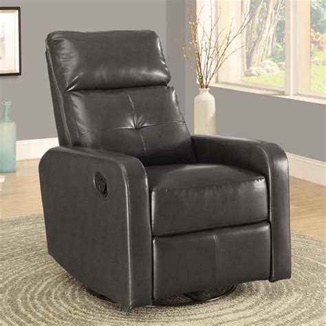 gray glider recliner leather swivel glider recliner in charcoal gray i8085gy