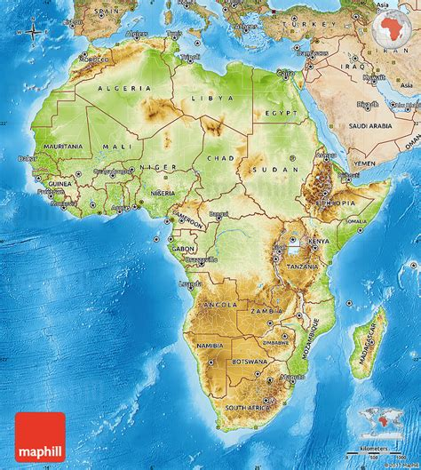 africa map sea physical map of africa satellite outside shaded relief sea