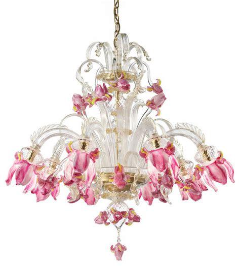 venetian glass chandelier lighting quot delizia quot 8 lights pink flowers murano glass chandelier