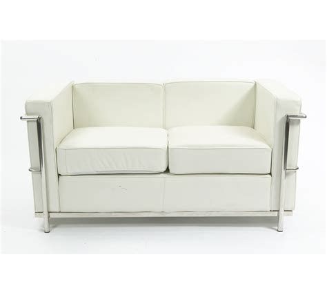 white leather 2 seater sofa corbusier white 2 seater leather sofa mediacityfurniturehire
