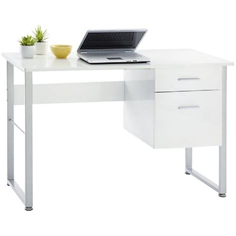 Office Max Office Desk Halton Desk With Drawers 1200mm Silver Frame Glossy White Laminate Officemax Nz